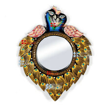 "Wooden Ethnic Peacock Unique Wall Mirror 16"" Frame with 6""  Antique Vintage MI03"