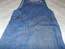 WOMENS BLUE JEAN JUMPER SZ SMALL EMBROIDERED FLOWERS