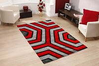 GREY RED GEOMETRIC DESIGN RUG RUNNER ELEGANT THICK SOFT PILE SMALL LARGE NEW