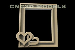 3D Model STL for CNC Router Carving Artcam Aspire Love Heart Frame Picture D85
