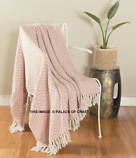 100% Cotton Chevron Sofa Couch Boho Hand-Loomed Throw Reversible Blanket Bedding