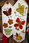 VTG Hanging Wall Tapestry Butterfly Butterflies Flowers Yarn 44in & 36in long
