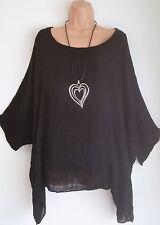 New  Italian Lagenlook BLACK Loose cotton Kaftan Tunic Top Onesize 18 20 22 24