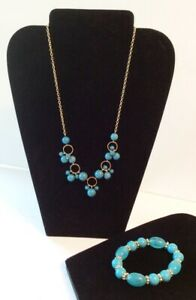 Turquoise Color Beads Necklace Gold Tone & Stretch Stone Beads Bracelet Set AVON