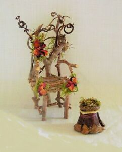 Fairy Garden TWIG ROSE MOSS QUEEN THRONE CHAIR & FOOTSTOOL Miniature Doll House