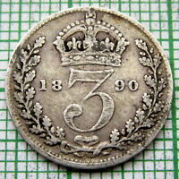 GREAT BRITAIN QUEEN VICTORIA 1890 JUBILEE 3 PENCE THREEPENCE, SILVER