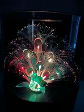 VTG Fiber Optic Peacock Color Changing Light Up Lamp Retro