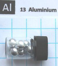 2g 99,9% aluminium metal spheres 6mm in glass vial element 13 sample