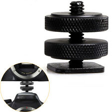 Metal Pro 1/4 inch Dual Nut Tripod Mount Screw Flash Camera Shoe Adapter ATBD