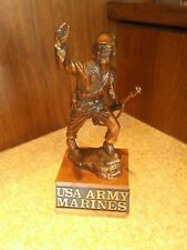 USA ARMY Marines WWII Bronze Finish Soldier Sculpture on Wood Base