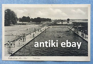 # Alte Schwimmbade AK s/w - Volksbad Wittenberge bei Perleberg