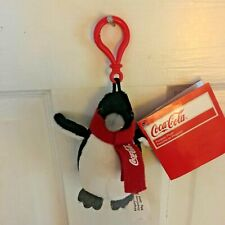 Coca Cola Plush Red Scarf Coke Penguin Key Ring/Fob Collectible Toy