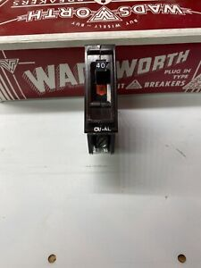 1 Wadsworth 40 Amp Single / 1 Pole Type A (Metal Tabs) Circuit Breaker 120/240V