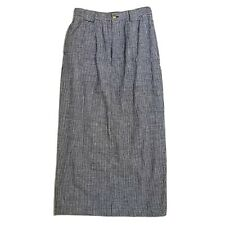Ruff Hewn 6 Linen Skirt Blue and White Checks Long Straight Pencil