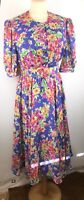 """Bright Floral Vintage Dress Size 14 42"""" Chest 35"""" Waist Sissy Mumsy Floaty D318"""