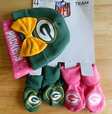 Green Bay Packers 4 pc girls infant 0/6 months set caps&booties