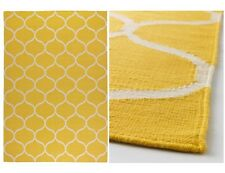 STOCKHOLM Rug,Flatwoven,YELLOW,Net Pattern,Handmade,170x240 cm,100% Wool & Cotto