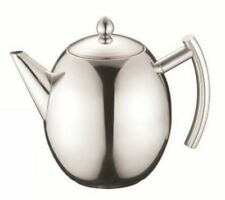 Steel Stainless Teapot with Infuser- Leaf Filter Coffee Tea Pot, Silver 1.5L Cup
