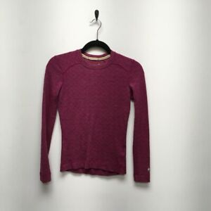 Smartwool Womens Base Layer Top Pink Chevron 100% Wool Long Sleeve Crew Neck XS