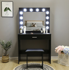 Dressing Table Makeup Desk LED Lighted Mirror Drawer Stool Bedroom Make Up Vanit