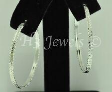 1.90 gram 1 1/4 inch #363 h3jewels 18k White Gold Diamond Cut hoop earring