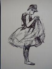 Pen & ink drawing after Henri de Toulouse Lautrec of a young woman female dance