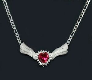 RUBY 1.22 Cts & DIAMONDS NECKLACE 10k WHITE GOLD  ** New With Tag**