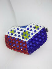 Adorable Heart Shaped Hand Beaded Coin Purse in Red, White & Blue
