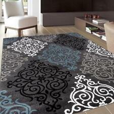 "Contemporary Damask Grey Blue White Soft Area Rug Floor Carpet Size  7'10"" x 10'"