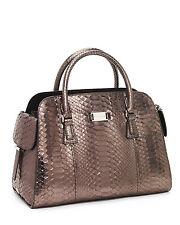 MICHAEL KORS Runway Collection Gia Satchel Python Handbag Purse - Anthracite