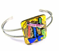 "Dichroic Cuff Bracelet GLASS ADJUSTABLE Gold Blue Bright Abstract Fused 1"" 25mm"