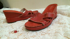 AEROSOLES Sandals Heel size 9 1/2 M RED strappy WEDGE casual Career SLIP ON
