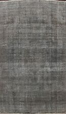 Antique Overdyed Gray Tebriz Distressed Area Rug Handmade Evenly Low Pile 8x12