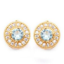 Ocean Blue White Round Cubic Zircon Gold Plated Lady Girl Hoop Earrings Ear Stud