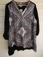 BNWT Autograph Women's Black Red Pink & White Tunic Top - Size 14
