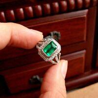 Vintage Retro Engagement Wedding Ring Art Deco 14k White Gold 3 Ct Green Emerald