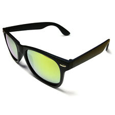 NEW Wayfarer Sunglasses Black Plastic With Yellow Lens BNWT