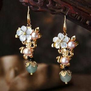 Fashion 925 Silver Flower Zircon Pearl Ear Drop Earrings Women Wedding Jewelry