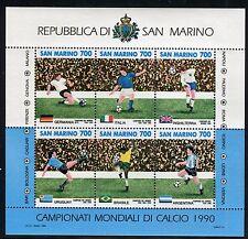 SAN MARINO 1990 MONDIALI CALCIO/WORLD FOOTBALL CHAMP./SOCCER/FLAGS souv.sheet