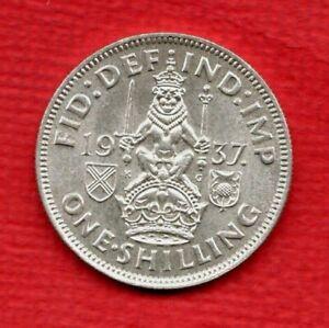 1937 SCOTTISH DESIGN SHILLING COIN OF KING GEORGE VI. 1/-. IN HIGH GRADE.
