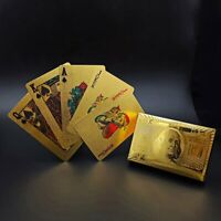Stylish 24K Gold Foil Plated Cover Poker 54 Playing Cards Table Games Party Fun