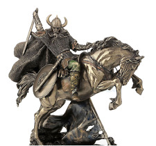 Viking Sculpture On Rearing Horse Statue Figurine