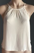 NEW with Tags FOREVER 21 Cream Halter Neck Top w Open Back Size S/8-10