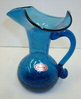 Gorgeous Vintage Hand Blown Rainbow Art Crackle Glass Blue Pitcher Vase