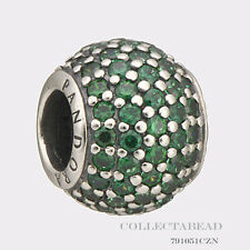 Authentic Pandora Sterling Silver Dark Green Pave Lights Bead 791051CZN