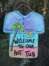 TROPICAL TIKI  SHIRT POOL HOT TUB PATIO BEACH  HAWAIIAN SIGN PLAQUE