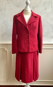 Vintage 1950's/1960s BEYVENE Red Pure Wool Jacket Skirt Suit Autumn Outfit Med