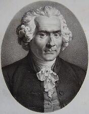 ROUSSEAU J.J. . Portrait, lithographie de 1821,