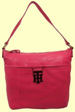 TOMMY HILFIGER TH LOGO Pink Leather Hobo Shoulder Bag Msrp $178.00