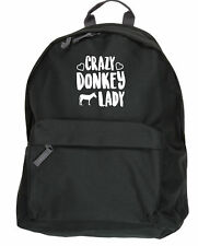 Crazy donkey lady backpack ruck sack Size: 31x42x21cm